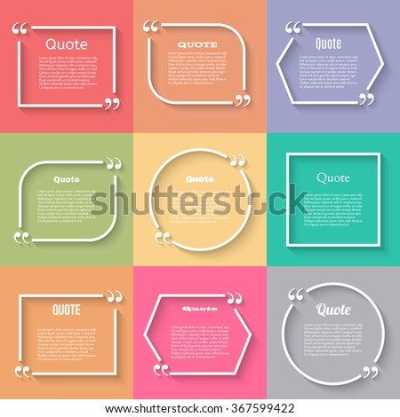 Quote blank template. Quote bubble. Empty template. Circle business card template, paper sheet, information, text. Flat design. Print design. Quote form. Template set