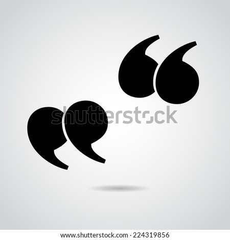 Quote icon isolated on white background. - stock photo