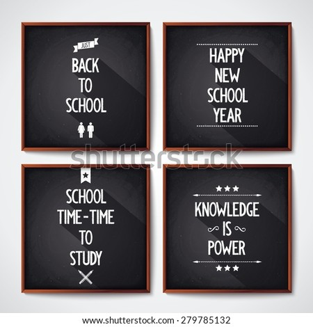 Quote poster with text on four black school chalkboard