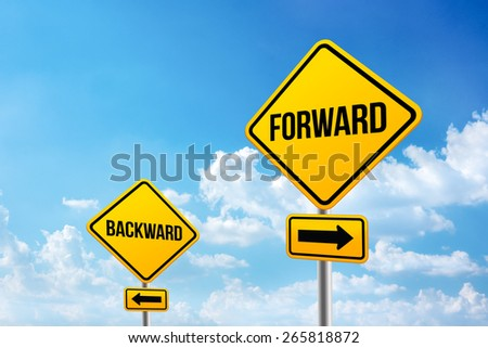 Quote yellow road sign with opposite word on cloudy background - stock photo