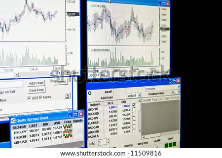 Quotes and Chart at the FOReign EXchange. Let's make money! - stock photo