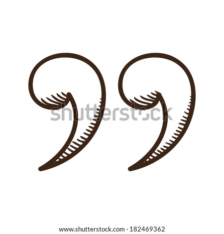 Quotes mark. Isolated sketch icon pictogram. - stock photo