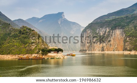 Qutang Gorge and Yangtze River - Baidicheng, Chongqing, China - stock photo