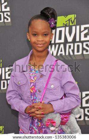 Quvenzhane Wallis at the 2013 MTV Movie Awards at Sony Studios, Culver City. April 14, 2013  Los Angeles, CA Picture: Paul Smith - stock photo