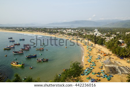 Quynhon, Vietnam - Apr 1,2016: Aerial view of Quy Nhon beach with curved shore line in Binh Dinh province, Vietnam.