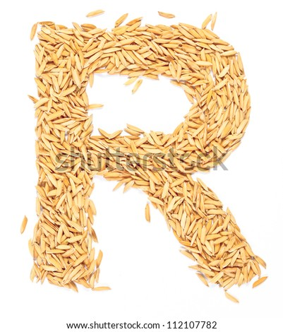 r alphabet letter paddy rice on white stock photo edit now