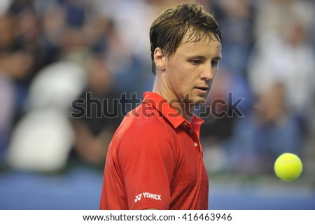 RAANANA, ISRAEL - April 03, 2016: Professional tennis player Ricardas Berankis at the final match during the ATP Challenger Tour 2016 at Raanana, Israel - stock photo
