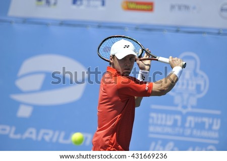 RAANANA, ISRAEL - April 02, 2016: Professional tennis player Ricardas Berankis at the semi-final match with Dudi Sela during the ATP Challenger Tour 2016 at Raanana, Israel