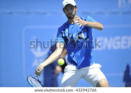 RAANANA, ISRAEL - April 02, 2016: Professional tennis players Konstantin Kravchuk and Denys Molchanov at the final match during the ATP Challenger Tour (Double, Hard) 2016 at Raanana, Israel - stock photo