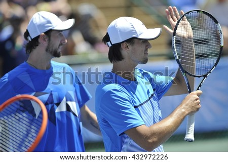RAANANA, ISRAEL - April 02, 2016: Professional tennis players Konstantin Kravchuk and Denys Molchanov at the final match during the ATP Challenger Tour (Double, Hard) 2016 at Raanana, Israel