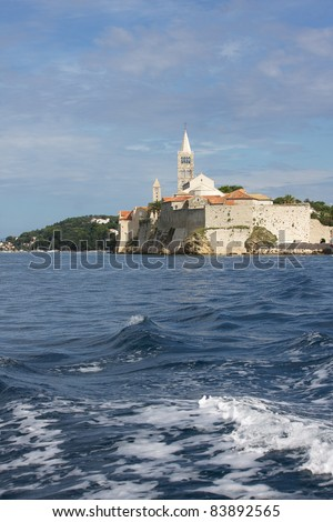 Rab town at Rab island in Croatia, view from the sea - stock photo