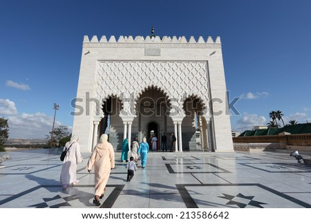 RABAT, MOROCCO - MAY 21: The Mausoleum of Mohammed V in Rabat. May 21, 2013 in Rabat, Morocco, North Africa - stock photo