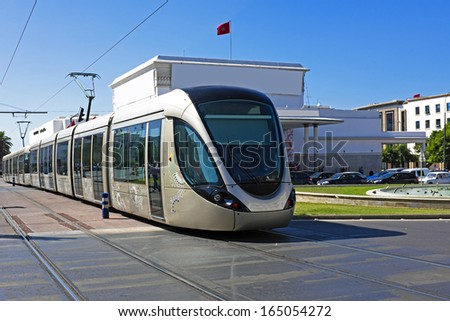 RABAT, MOROCCO - OCTOBER 15 2013: The Rabat tramway is a tram system which was put into service on May 23, 2011 in Rabat Morocco - stock photo