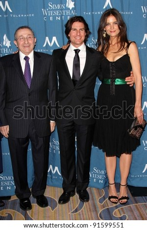 Rabbi Marvin Hier, Tom Cruise, Katie Holmes at the Simon Wiesenthal Center Annual National Tribute Dinner Honoring Tom Cruise, Four Seasons Hotel, Beverly Hills, CA 05-05-11 - stock photo
