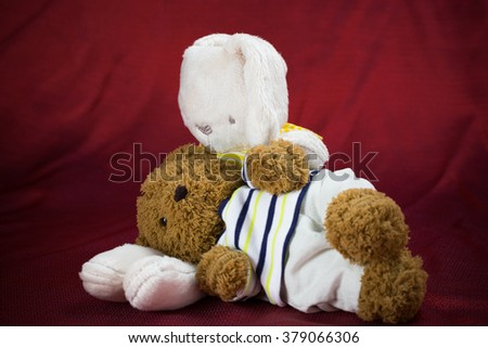 Rabbit and brown bear doll with care each other as represent lovely family with red background - stock photo