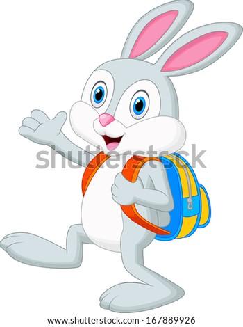 Rabbit cartoon with backpack - stock photo