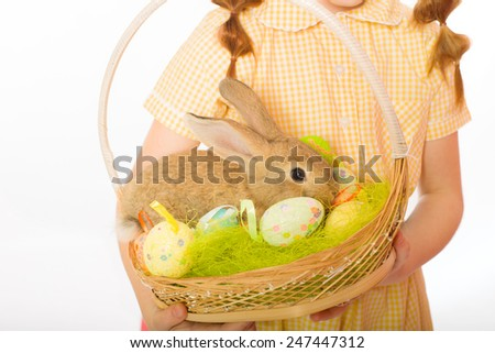 rabbit in a basket easter eggs - stock photo