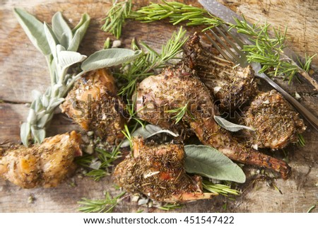 Rabbit portions prepared pickled and cooked in the oven - stock photo