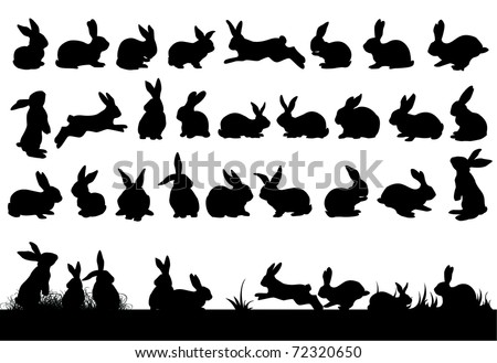 rabbit silhouettes for easter decorations - stock photo