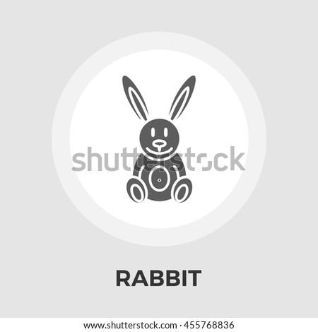 Rabbit toy flat icon isolated on the white background. - stock photo