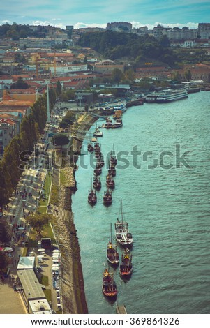 Rabelo boats parked in Douroâ??s riverbank in Porto. - stock photo