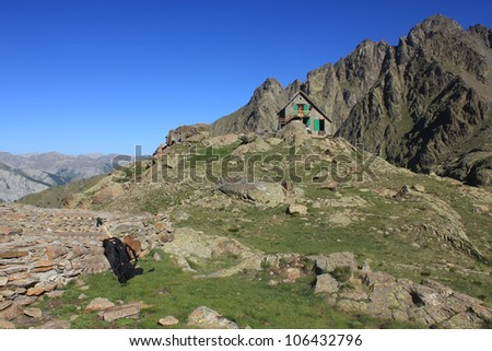 Rabuons shelter in the morning, Mercantour National Park, France - stock photo