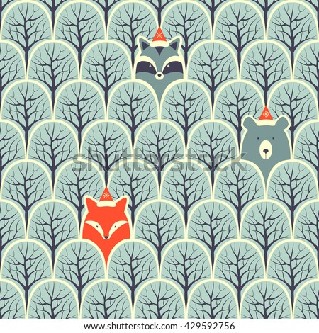 Raccoon, fox and bear in a forest seamless pattern.Design background.  - stock photo