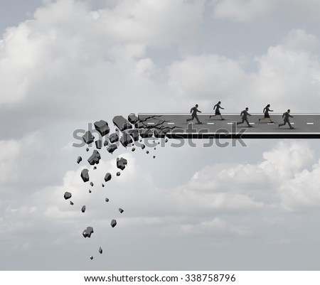 Race against time and urgent deadline stress business concept as a group of business people running away from a crumbling road bridge as a crisis metaphor for managing industry fear based pressure. - stock photo