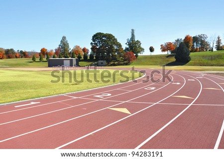 Race and running course for track and field. - stock photo