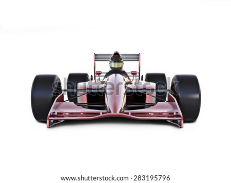 Race car front view on a white isolated background. - stock photo