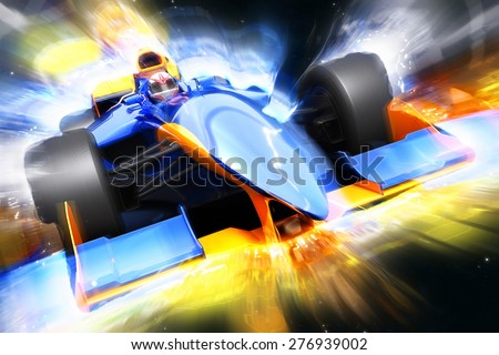 Race  car with light effect.   - stock photo