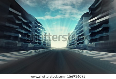 race circuit in business city in evening motion blur wallpaper illustration - stock photo