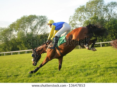 race horse jumping hurdle at speed - stock photo