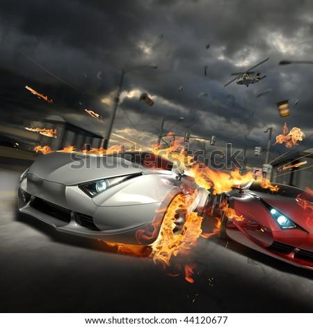 Race. My own car design. - stock photo