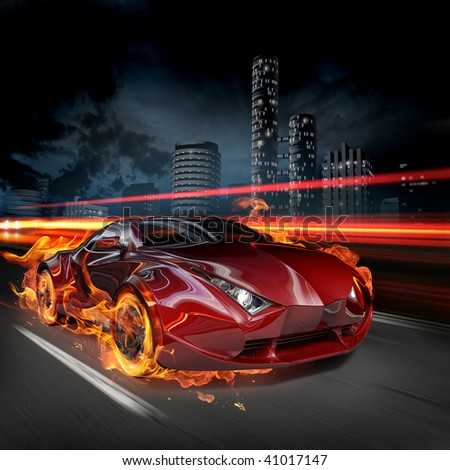 Race on the night streets. My own car design. Not associated with any brand. - stock photo