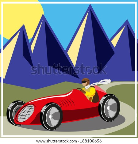 Racer driving old fast race car - stock photo