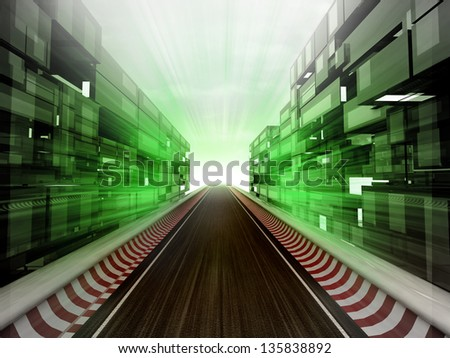 racetrack in glass ecological city background illustration - stock photo