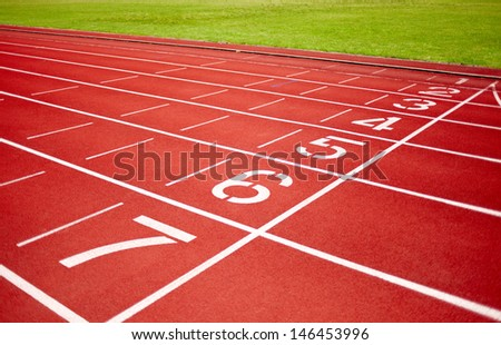 racetrack in red with track number - stock photo
