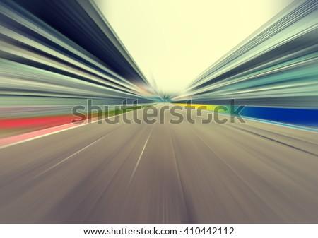 Racetrack motion blur effect - stock photo
