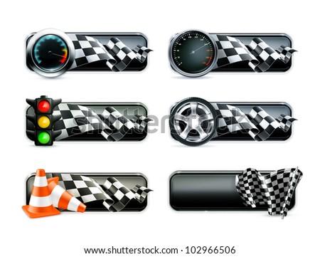 Racing banners set, bitmap copy - stock photo
