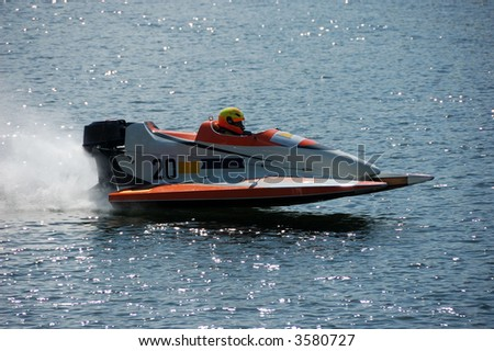 Racing Boat in Action