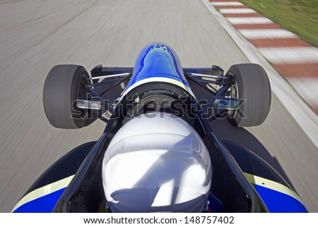 Racing Car with finish flag background.Commercial composition - stock photo