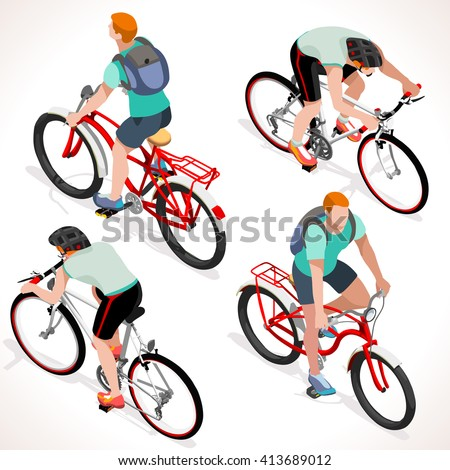 Racing cyclist group riding bicycle. Cyclist icon. Flat 3D isometric people set of cyclist and bicycle icons. Isometric Fitness Boy on bicycle. Cycling Group Competition Race Mountain Bike BMX. - stock photo