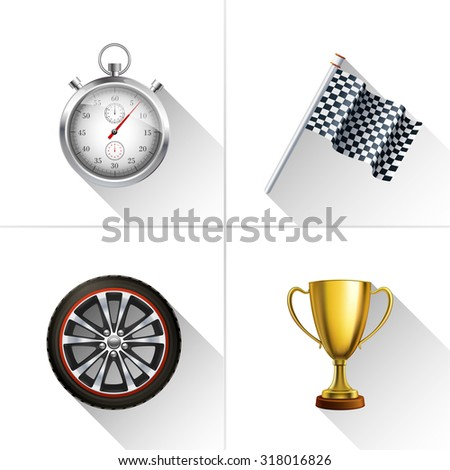 Racing decorative icons set with realistic stopwatch flag wheel and trophy cup isolated  illustration