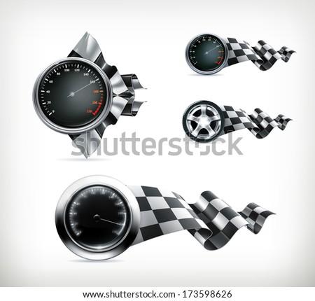 Racing emblems, bitmap copy - stock photo