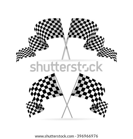 Racing Flag Avto Set. Symbol Of The Competition. illustration