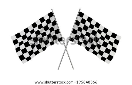 Racing flags. 3d illustration isolated on white background