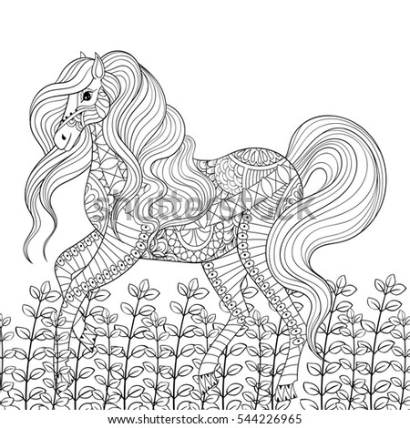 Racing Horse Adult Anti Stress Coloring Stock Illustration