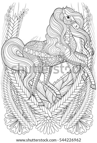 racing horse in flowers adult anti stress coloring page hand drawn zentangle animal for colouring - Art Therapy Coloring Pages Animals