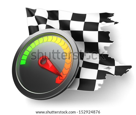 Racing icon. The maximum speed on the speedometer and the checkered finish flag isolated on white. - stock photo